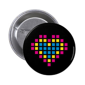 Pixel Heart in Squares Button Badge