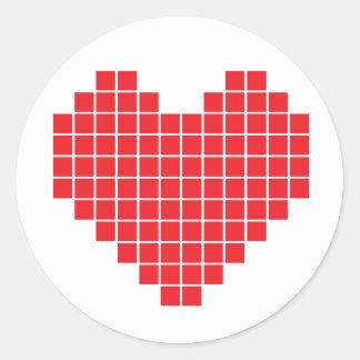 Pixel Heart Round Sticker