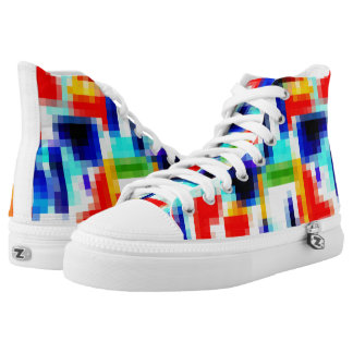 Pixel High Tops Bright Primary Colors Artist Shoes