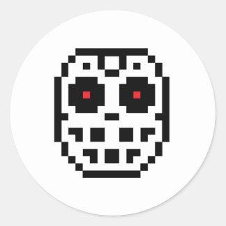 Pixel Hockey Goalie Mask Round Sticker