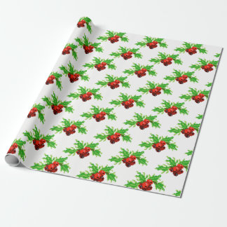 Pixel Holly Wreath Wrapping Paper