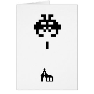 Pixel Invader vs Church Card