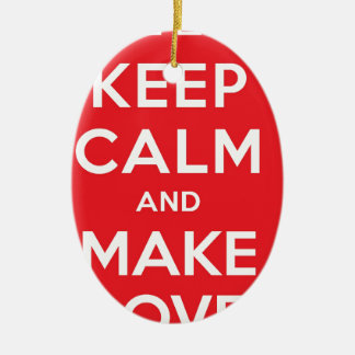 Pixel Keep Calm And Make Love Ceramic Oval Decoration