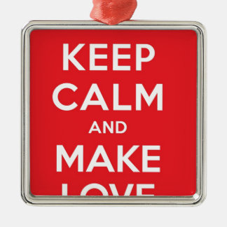 Pixel Keep Calm And Make Love Silver-Colored Square Decoration