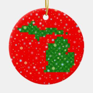Pixel Michigan and Pastel Snowflakes Round Ceramic Decoration