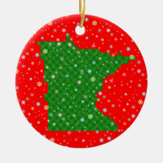 Pixel Minnesota and Pastel Snowflakes Christmas Ornament
