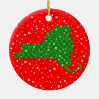 Pixel New York and Pastel Snowflakes Christmas Ornament