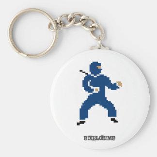 Pixel Ninja Blue Keychains