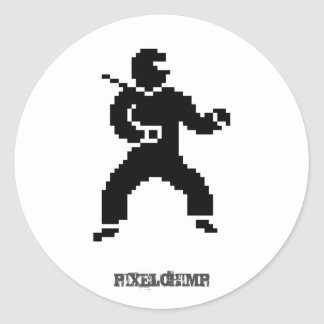 Pixel Ninja Side Round Sticker