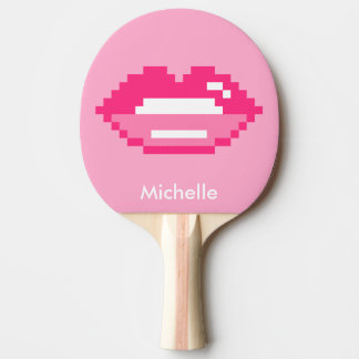 Pixel pink lips table tennis ping pong paddle