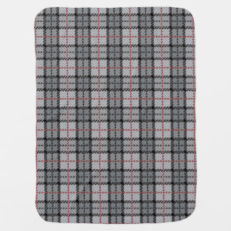 Pixel Plaid in Grey with Red Stripe Baby Blanket