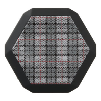Pixel Plaid in Grey with Red Stripe Black Bluetooth Speaker