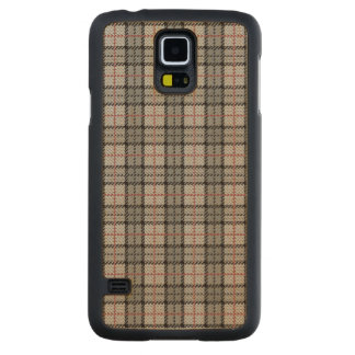 Pixel Plaid in Grey with Red Stripe Carved Maple Galaxy S5 Case