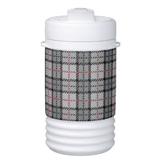 Pixel Plaid in Grey with Red Stripe Cooler