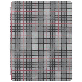 Pixel Plaid in Grey with Red Stripe iPad Cover