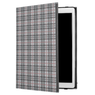 "Pixel Plaid in Grey with Red Stripe iPad Pro 12.9"" Case"