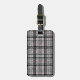 Pixel Plaid in Grey with Red Stripe Luggage Tag