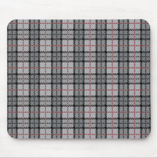 Pixel Plaid in Grey with Red Stripe Mouse Mat