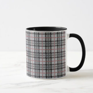 Pixel Plaid in Grey with Red Stripe Mug
