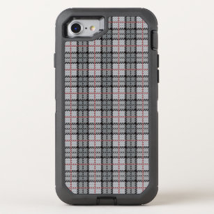 Pixel Plaid in Grey with Red Stripe OtterBox Defender iPhone 8/7 Case