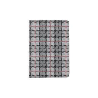 Pixel Plaid in Grey with Red Stripe Passport Holder