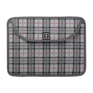 Pixel Plaid in Grey with Red Stripe Sleeve For MacBooks