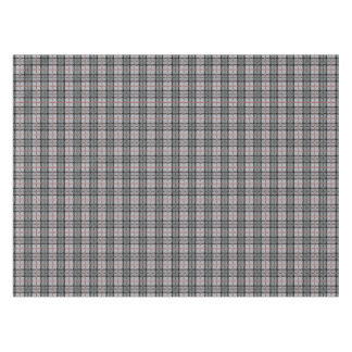 Pixel Plaid in Grey with Red Stripe Tablecloth