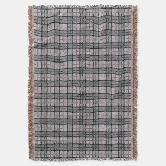 Pixel Plaid in Grey with Red Stripe Throw Blanket