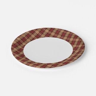 Pixel Plaid in Red and Gold 7 Inch Paper Plate