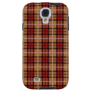Pixel Plaid in Red and Gold Galaxy S4 Case