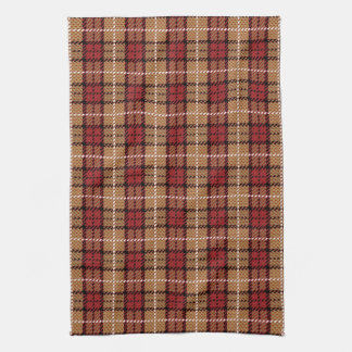 Pixel Plaid in Red and Gold Hand Towels