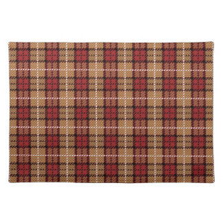 Pixel Plaid in Red and Gold Placemat
