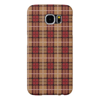 Pixel Plaid in Red and Gold Samsung Galaxy S6 Cases