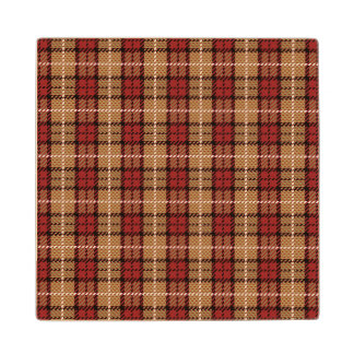 Pixel Plaid in Red and Gold Wood Coaster