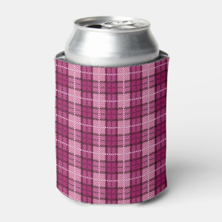 Pixel Plaid_Magenta-Black Can Cooler