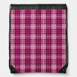Pixel Plaid_Magenta-Black Drawstring Bag