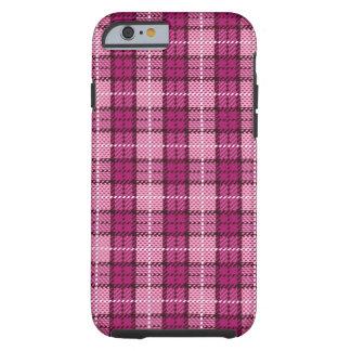Pixel Plaid_Magenta-Black Tough iPhone 6 Case