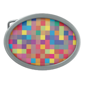 Pixel Rainbow Square Pattern Belt Buckles
