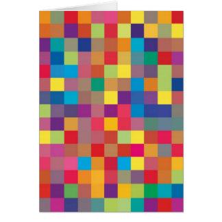 Pixel Rainbow Square Pattern Card