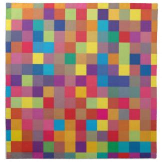 Pixel Rainbow Square Pattern Napkin