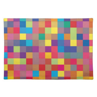 Pixel Rainbow Square Pattern Placemat