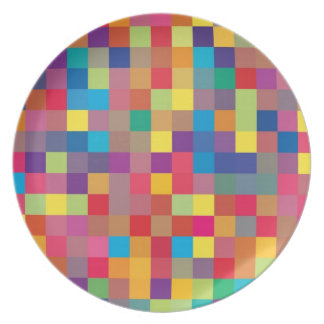 Pixel Rainbow Square Pattern Plate