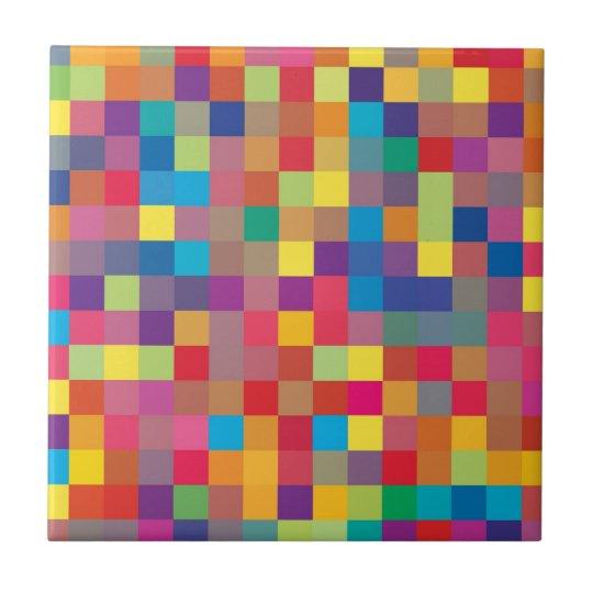 Pixel Rainbow Square Pattern Small Square Tile