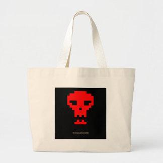 Pixel_Red_Skull Tote Bags