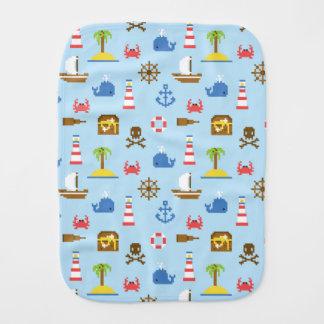 Pixel Sea Art Pattern Burp Cloth