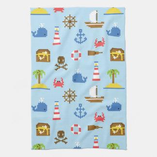 Pixel Sea Art Pattern Towels