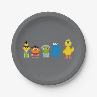 Pixel Sesame Street Characters Paper Plate