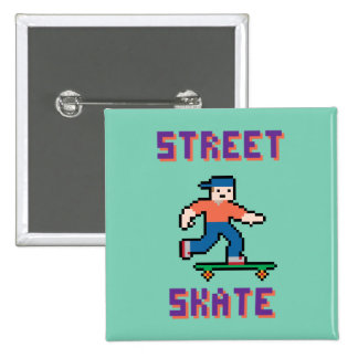 Pixel Skater Button 2 Inch Square Button