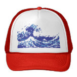 Pixel Tsunami Blue 8 Bit Pixel Art Cap