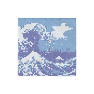 Pixel Tsunami Blue 8 Bit Pixel Art Stone Magnet
